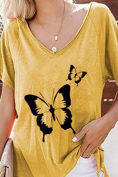 V Neck Butterfly Print Short Sleeve T-shirt