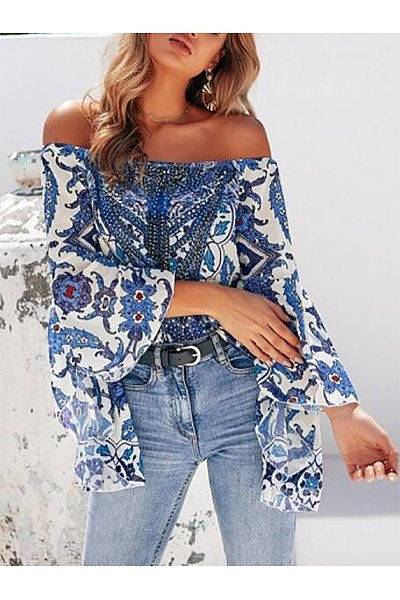 Off Shoulder  Asymmetric Hem Backless  Cascading Ruffles  Bohemian  Blouses