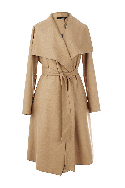 Lapel Belt Plain Woolen Wrap Trench Coat