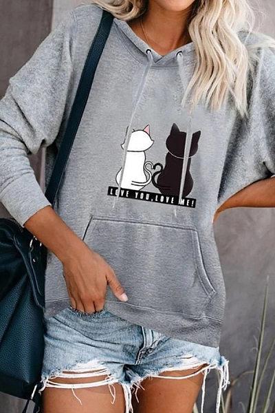 Casual Long Sleeve Cat Hoodies
