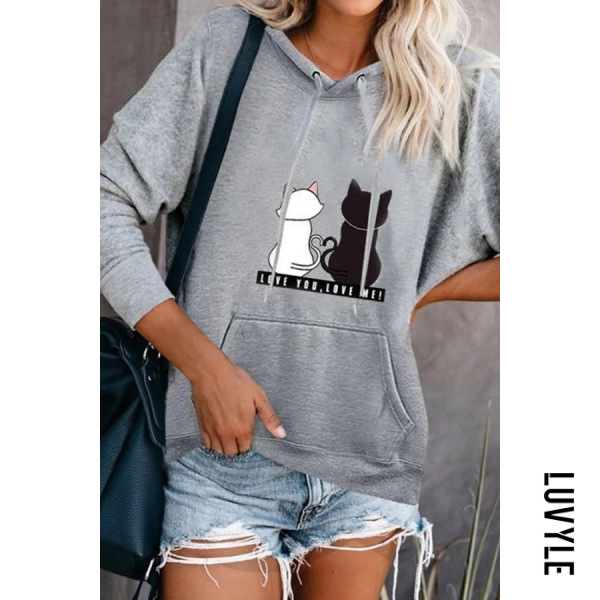 Gray Casual Long Sleeve Cat Hoodies Gray Casual Long Sleeve Cat Hoodies