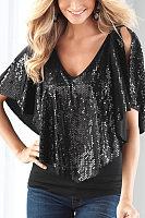 Open Shoulder V Neck  Glitter  Plain T-Shirts