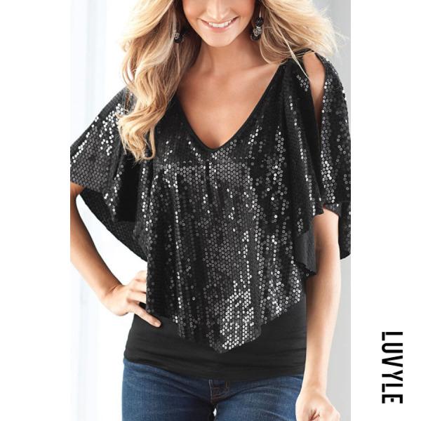 Black Open Shoulder V Neck Glitter Plain T-Shirts Black Open Shoulder V Neck Glitter Plain T-Shirts