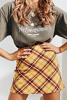 Fashion Plaid Zip Skirt
