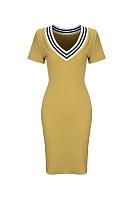 Graceful Deep V-Neck Striped Bodycon Dress