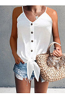 Button Hem Tie Halter Strap T-Shirt