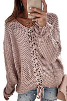 Casual V Neck Long Sleeve Plain Sweater