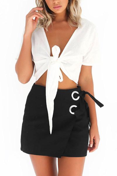 Summer Diagonal Buttons  Plain Skirts