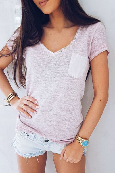 V Neck Button Pocket Short Sleeve T-Shirts