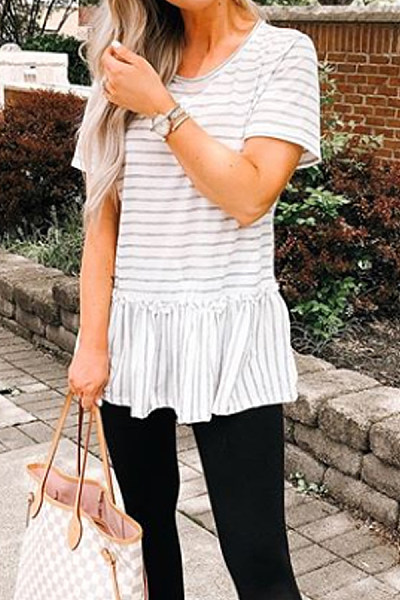Round Neck  Patchwork  Striped T-Shirts