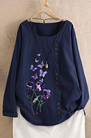 Round Neck Decorative Buttons Butterfly Blouse