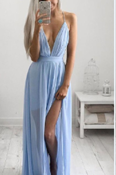 Deep V Neck  Backless Maxi Dresses