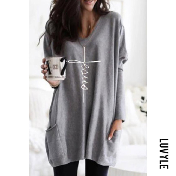Female fashion loose round neck long-sleeved t-shirt - from $22.00