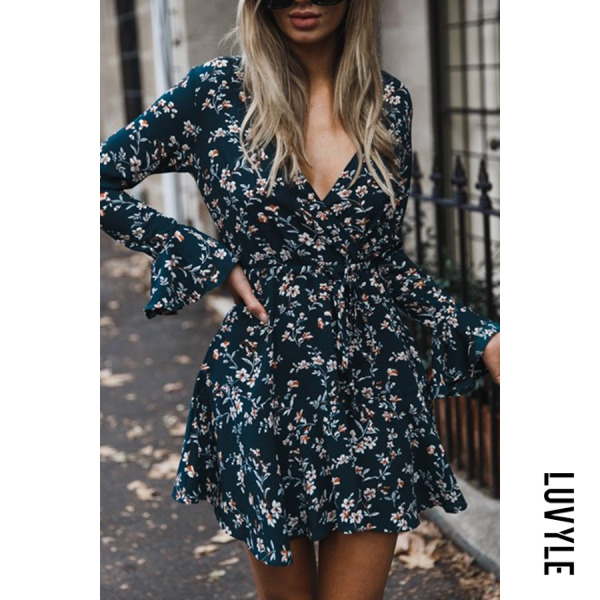Dark Green Deep V Neck Asymmetric Hem Belt Floral Printed Bell Sleeve Long Sleeve Casual Dresses Dark Green Deep V Neck Asymmetric Hem Belt Floral Printed Bell Sleeve Long Sleeve Casual Dresses
