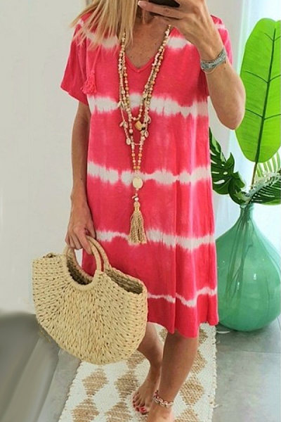 V Neck Short Sleeve Colouring Casual Dress