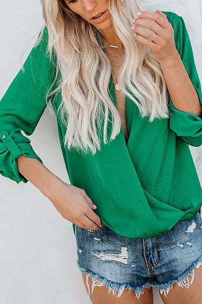 Sexy Solid Color V Neck Casual Long Sleeve Loose Shirt