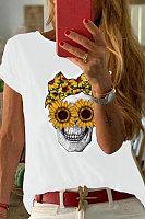 Round Neck Short Sleeve Sunflower Skull T-shirt