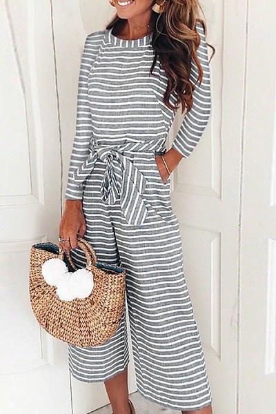 Fashion Stripe Long Sleeve Jumpsuits