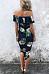 Open Shoulder Asymmetric Hem Floral Bodycon Dresses