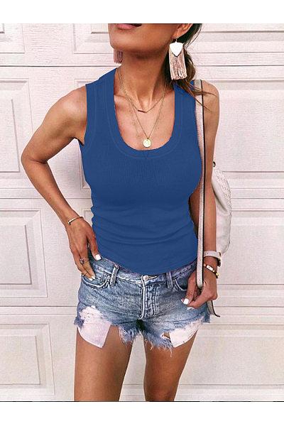 Casual Round-Neck Knit Sleeveless T-Shirt