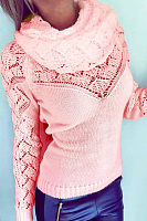 Cowl Neck  Patchwork  Plain Sweaters
