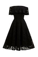 Off Shoulder  Flounce  Lace Plain Party Dresses