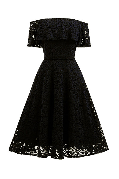 Off Shoulder  Flounce  Lace Plain Party Dresses