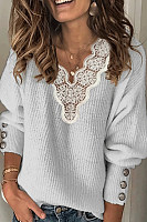 Ladies Casual Lace V-Neck Sweater