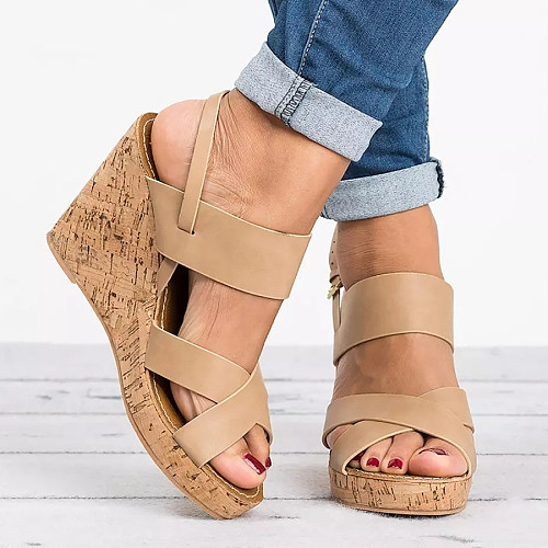 aa0abb665fa4 Plain High Heeled Ankle Strap Peep Toe Casual Date Wedge Sandals ...