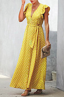 V Neck  Ruffle Trim  Dot  Half Sleeve Maxi Dresses