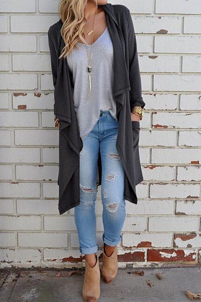 Asymmetric Hem Slit Snap Front  Plain Cardigans