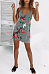 Spaghetti Strap  Backless  Floral Printed Striped  Sleeveless Casual Dresses
