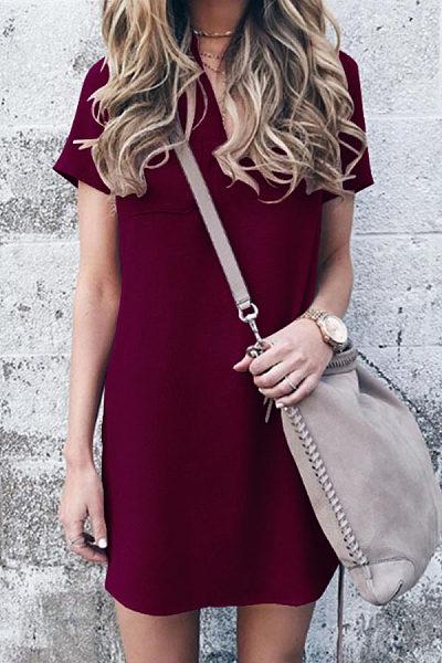 V Neck  Patch Pocket  Plain  Short Sleeve Casual Dresses