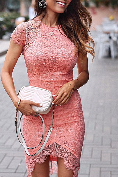 Round Neck  Asymmetric Hem  Lace  Short Sleeve Bodycon Dresses