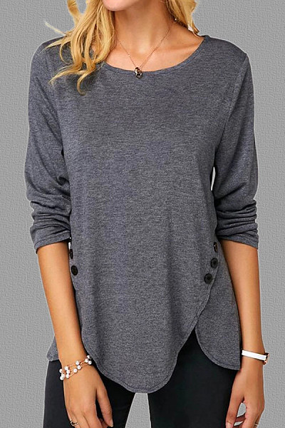 Round Neck Irregular Hem Plain T-shirt