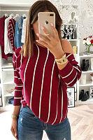 One Shoulder  Striped T-Shirts