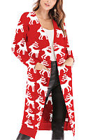 Christmas  Snap Front  Animal Prints Cardigans