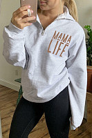 Zipper Collar Loose-Fitting Letters Sweatshirt