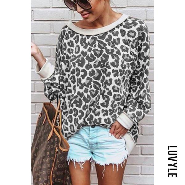 Gray Fashion Leopard Print Long Sleeve T-Shirt Gray Fashion Leopard Print Long Sleeve T-Shirt