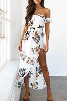 Strapless Asymmetric Hem Floral Printed Maxi Dresses