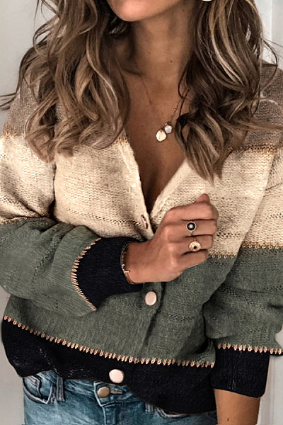 Casual Colorblock Single-breasted Knit Cardigan