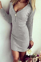 V Neck  Zipper  Long Sleeve Bodycon Dresses