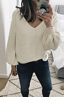 V Neck  Basic  Plain  Elegant Sweaters