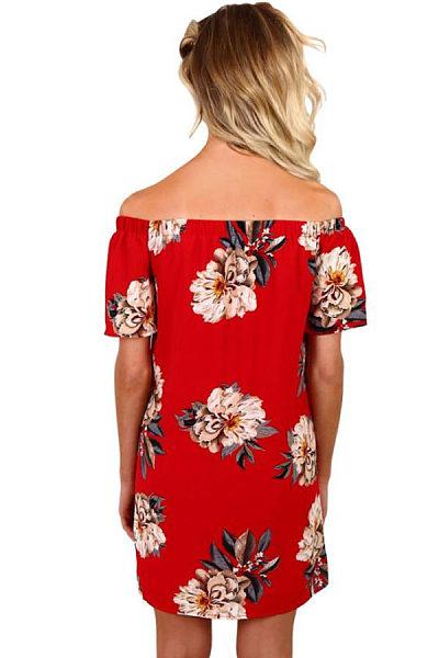 Off Shoulder  Floral Printed  Short Sleeve Casual Dresses