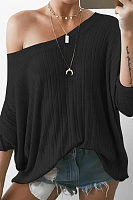 Round Neck Long Sleeve Loose Fashion Knitting T-Shirts
