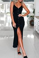 Deep V Neck  Single Breasted  Plain  Sleeveless Bodycon Dresses