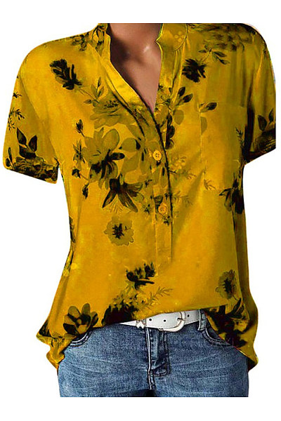 Floral Printed V Neck Loose Fitting Blouse