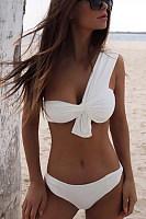 Asymmetric Neck  Cutout Patchwork  Plain Bikini