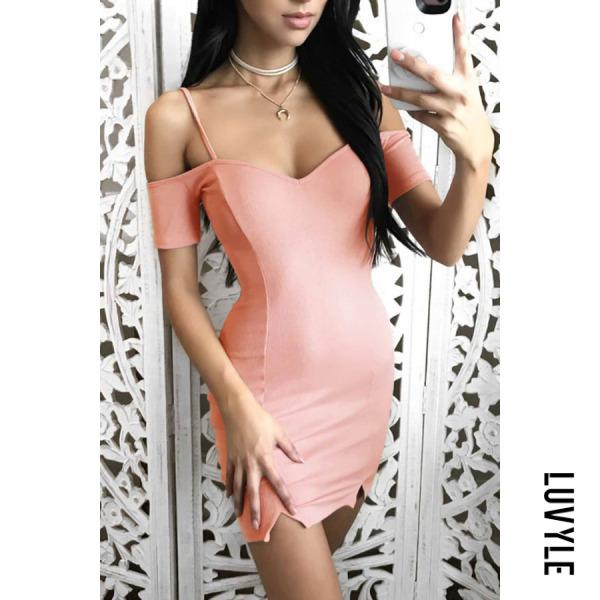 Pink Spaghetti Strap Plain Short Sleeve Bodycon Dresses Pink Spaghetti Strap Plain Short Sleeve Bodycon Dresses