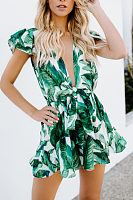 Deep V Neck  Printed  Short Sleeve  Playsuits